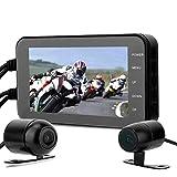 Dash Cam Motocicleta, 1080P, 4in, Pantalla Táctil, Resistente al Agua, WiFi, GPS, Sensor G, Detección de Movimiento, Grabadora de Video Conducción Cámara Delantera/Trasera, Monitor de Estacionamiento