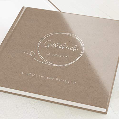 sendmoments Hochzeitsgästebuch Liebeskreis, personalisiert mit Wunschtext, hochwertiges Hardcover-Buch, Quadratisch, mit 32 leeren Seiten oder mehr