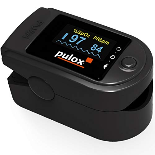 Pulsoximeter PULOX PO-200A Solo in schwarz Oximeter mit Alarm, Pulston und drehbarem Display Fingeroximeter zur Messung der Sauerstoffsättigung im Blut und Puls