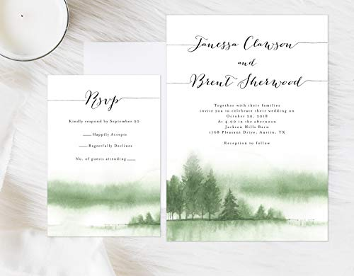 Watercolor Mountain Wedding Invitation, Lake Wedding Invitation, Pine Trees Mountain Invitation, Rustic Wedding Invitation