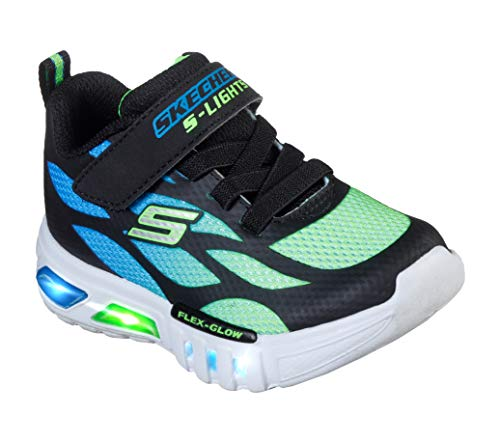 Skechers Kids Boys' Flex-Glow-Dezlo Sneaker, Black/Blue/Lime, 10 Medium US Toddler