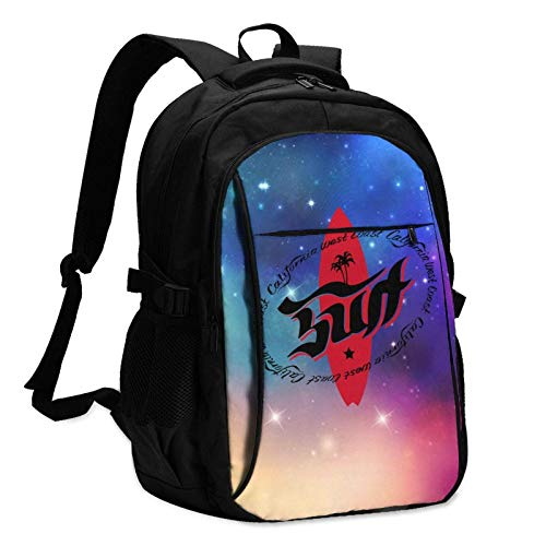 XCNGG Retro Style Surfing Logo Unisex Travel Laptop Backpack with USB Charging Port School Anti-Theft Bag