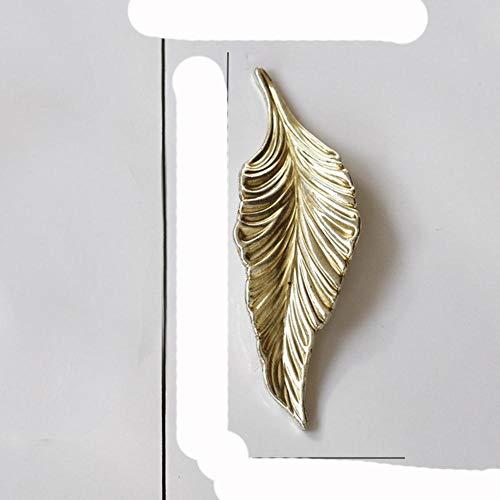 Hoja de árbol de oro muebles de cobre manijas de cocina perilla de gabinete para armario tiradores de puerta de cajón Vintage latón europeo-plata derecho
