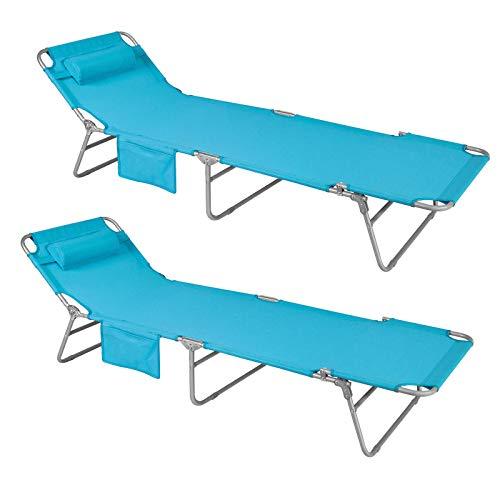 SoBuy OGS35-Bx2,Set de 2 tumbonas, Tumbona inclinable de acero plegable con almohada playa piscina Jardín mecedora,ES
