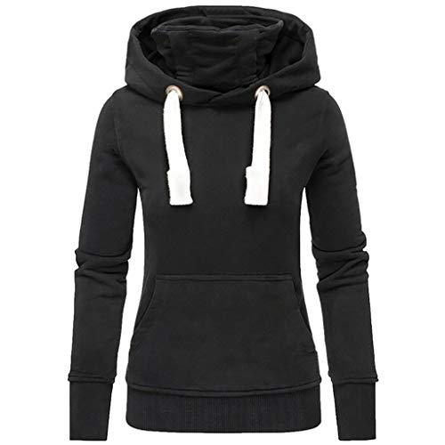 Lulupi Kapuzenpullover Damen Long Hoodie Rollkragen Pullover Warme Winterpullover Langarm Einfarbige Casual Pulli Hooded Sweatshirt Mantel Outwear