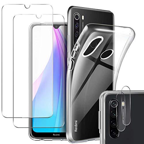 Pengkun 5 en 1 Funda para Xiaomi Redmi Note 8T 6.26 Pulgada con 2 Cristal Templado 2 Cristal Templado para cámara Trasera Transparente Silicona TPU para Xiaomi Redmi Note 8T 6,26