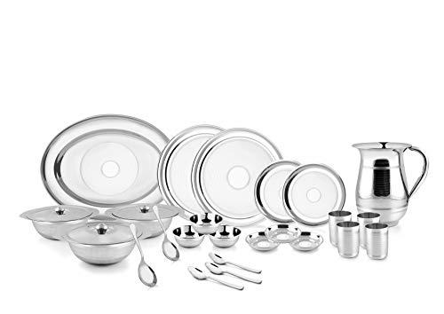 PNB Kitchenmate - Vajilla de acero inoxidable (51 piezas, línea plateada, 6 personas)