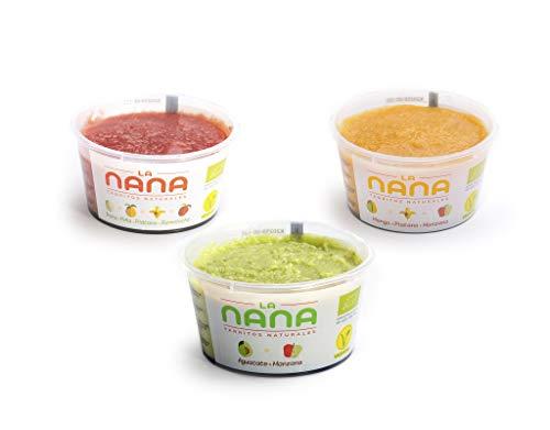 LANANA- Pack Frutas - 12 tarritos ecológicos frescos 4 de cada variedad de frutas de 190 g (Aguacate, Caribe, y Tropical)
