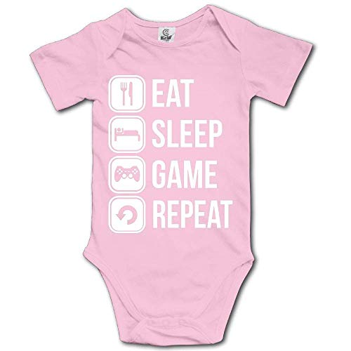 sunminey Vêtements bébé Baby Bodysuit Eat Sleep Game Repeat Short Sleeves Triangle Romper Bodysuit Outfits Infant Toddler Clothes