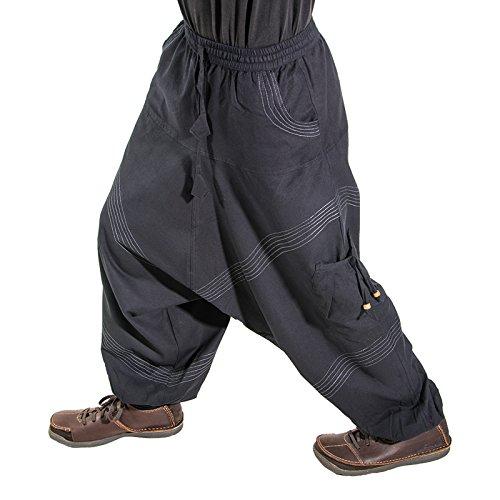 KUNST UND MAGIE Herren Goa Haremshose in klassischen Farben, Größe:L/XL, Farbe:Black/Schwarz