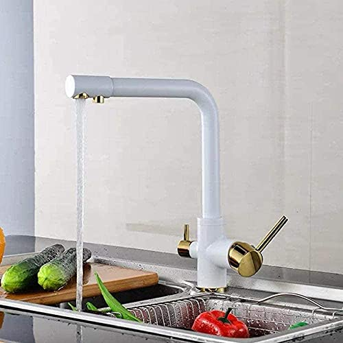 RMKXPA Grifo de Lavabo Grifo de Cocina Grifos de Filtro Grifos de Cocina giratorios de latón Blanco 360 con función de purificación de Agua Potable Grifo Mezclador de Cocina