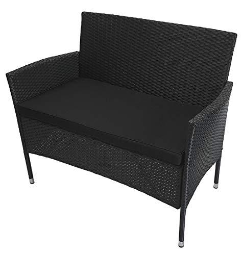 KMH®, 2-sitzer Gartenbank Holme aus schwarzem Polyrattan mit Sitzauflage (#106068)