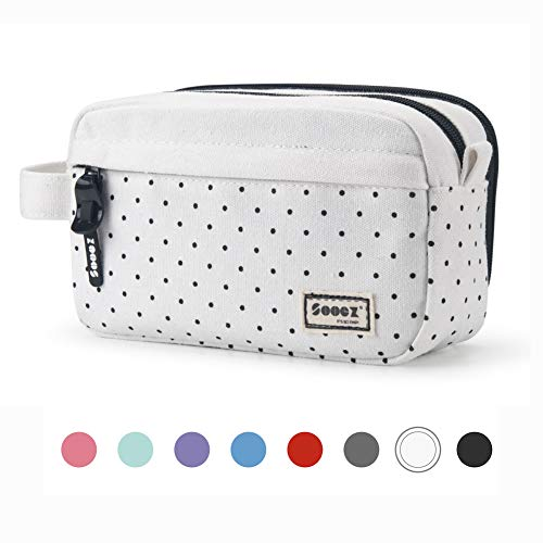 Sooez High Capacity Pen Case, Durable Pencil Bag Stationery Zipper Pouch, Portable Journaling Supplies with Easy Grip Handle & Loop, Asthetic Supply for School Girls Teens Adults, Black Dots