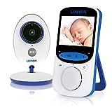 LUVION EASY PLUS - Babyphone Caméra Video - vision nocturne, mode VOX, conversations bidirectionnelles et surveillance de la température, blanc-bleu (Luvion Easy Plus - Écran LCD couleur 2,4')