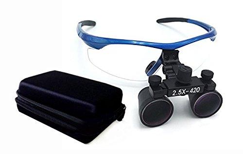 BoNew Lupas binoculares quirúrgicas 2,5 x 420 mm vidrio óptico DY-101 marco de plástico con antivaho azul