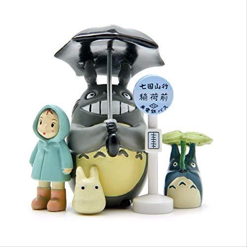 Yangzou 6 Unids Mi Vecino Totoro Juego De Paraguas Modelo PVC Figuras De Acción Juguete Mei Muñecas Gnomo Terrario Figuras Mini Decoración De Jardín