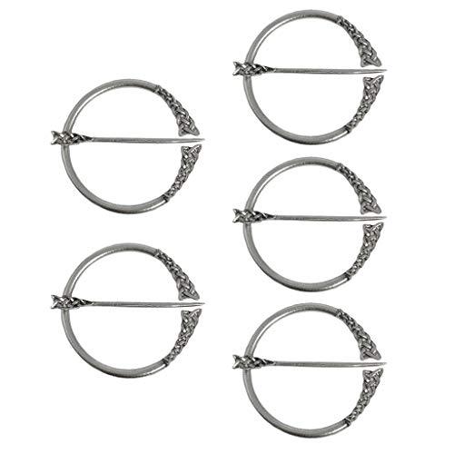 Sharplace 5Stk Wikinger Brosche Fibel Keltische Gewandnadel Schalnadel Schalring Tuchring Pins, Geschenk für Wikingerfans Frauen Männer