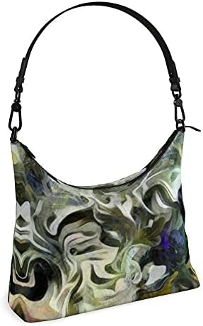 The Fashion Access Abstract Fluid Lines of Movement Muted Tones High Fashion Square Hobo Bag