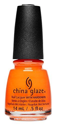 China Glaze nagellak met hardeners, 14 ml Schwül Solstice Oranje Neon Crème