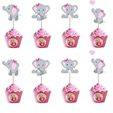 Morofme 48pcs Pink Elephant Cupcake Toppers, Double Sided It is A Girl Elephant Cupcake Picks, Elephant Cake Cupcake Decorations for Elephant Theme Birthday Baby Shower Little Peanut Party Supplies