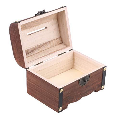 FAVOMOTO - Baúl del tesoro de madera vintage con cerradura de memoria pasatiempo preservación rústica decorativa de madera vintage caja de moneda para niños y adultos