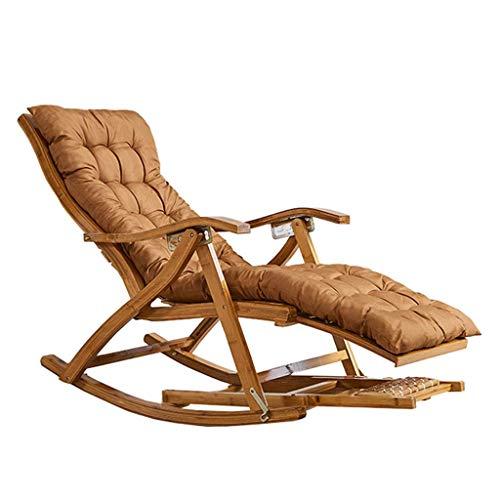 WFFF Silla Mecedora Zero Gravity Silla de salón de Madera de bambú Acolchada marrón portátil...