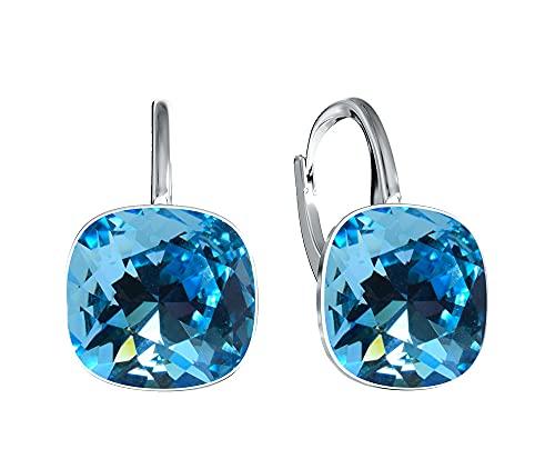 Crystals & Stones, orecchini con cristalli Swarovski, in argento 925 placcato oro 24 carati, per donna, con scatola e Argento, colore: aquamarine, cod. 7