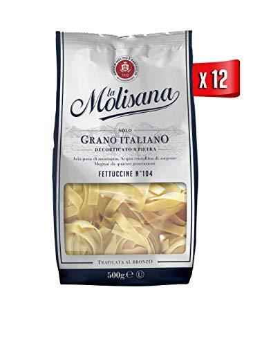 La Molisana, Fettuccine n.104 Pasta Lunga, SOLO Grano Italiano - 12 confezioni da 500g (tot 6kg)