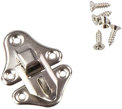 LAUBLUST Kistenverschluss mit Öse für Vorhängeschloss - Metall Silbern, ca. 32 x 23 mm - Schloss für Kleine Kisten