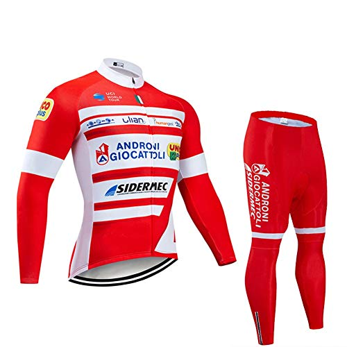 Men Long Sleeve Cycling Jerseys For PRO Racing Club Italian Bicycle Fleet - Road Bike Anti-UV Outdoor MTB Cycling Suits, Classic Bicycle Sportswear (Size : Small)