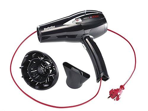 BaByliss D372E – Secador de pelo retráctil, 2000 W - 230V, 6 temperaturas, botón aire frío, con difusor y concentrador, cable retráctil