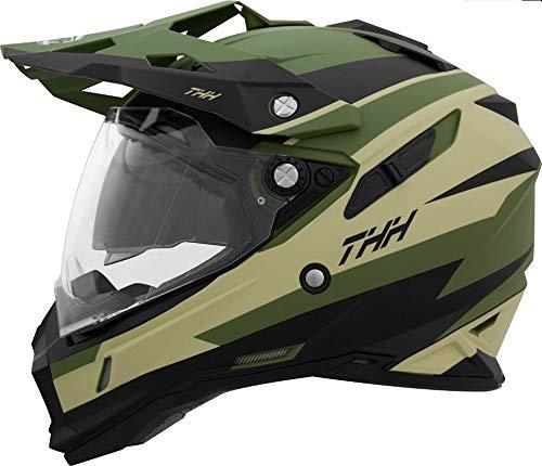 【THH】インナーサンバイザー装備オフロードヘルメットTX-28VoltGreenBlack(グリーンブラック)モトクロス全排気量対応thh-tx28vo-gkL(59-60cm未満)