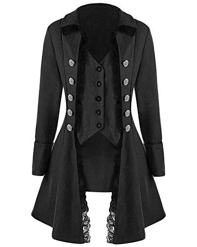 GladiolusA Donna Gothic Giacca Steampunk Tailcoat Cappotto per Costume Vittoriano Halloween Costume Nero 2XL