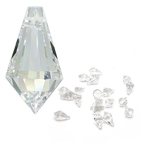 Christoph Palme Leuchten Kristall Spitze Länge 20mm 20 Stück Hoch Brillant Träne Bleikristall Regenbogenkristall zum aufhängen für Schmuck, Feng Shui und zum basteln
