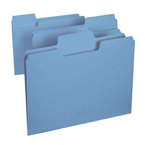 Smead SuperTab File Folder, Oversized 1/3-Cut Tab, Letter Size, Blue, 100 per Box (11986)