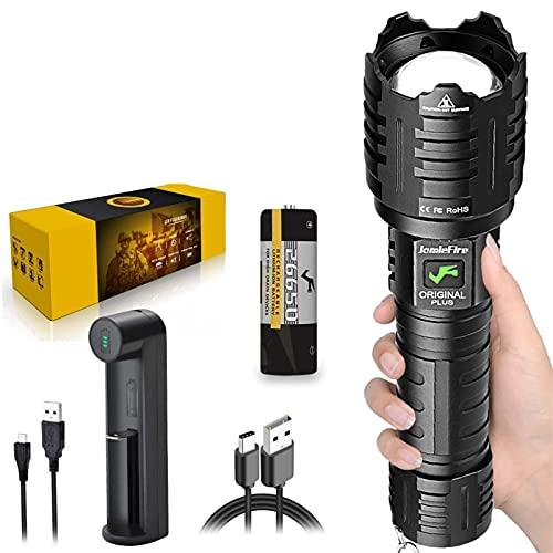 XHP160 LED Potente Linterna Recargable Super Bright 5800 High Lumen 5 Modo USB Zoom Linterna IPX5 Impermeable Con Batería 26650 Adaptada Para Acampar, Aux Sports De Plein Air (negro) ZDXY