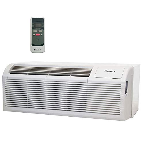 KLIMAIRE 9,000 BTU 12.8 EER PTHP Air Conditioner Heat Pump with Wall Sleeve, Aluminum Grille, Remote Control, & 3.5KW Electric Heater 208-230V