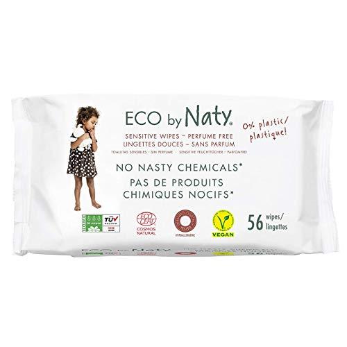 Eco by Naty, Lingettes sans parfum, 672 pièces (12x56 lingettes), Lingettes compostables fabriquées à partir de fibres végétales, 0% plastique. Sans produit chimique nocif.