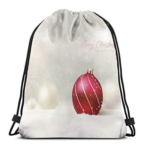 Hangdachang - Bola de fondo con efecto de nieve con líneas curvadas para Navidad, felices vacaciones, cierre de cadena ajustable con cordón impreso mochilas bolsas