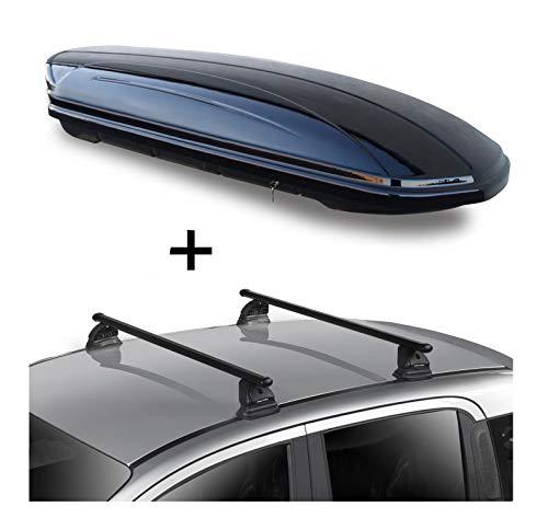 Dachbox VDPMAA580 580 Liter abschließbar schwarz + Dachträger VDP EVO Stahl kompatibel mit Mercedes CLA Shooting Brake (X117) 5 Türer 2015-2019