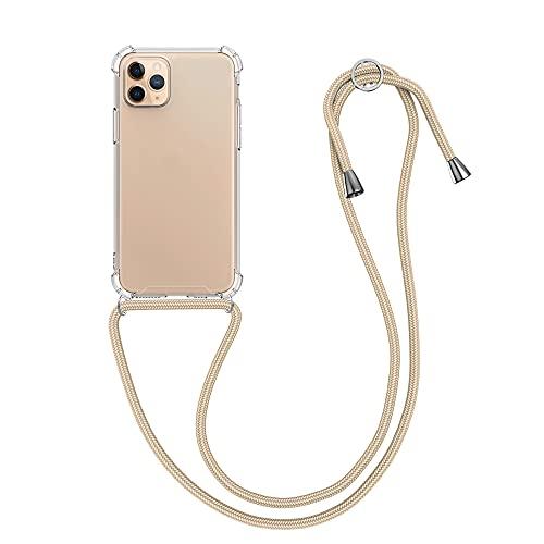 kwmobile Carcasa Compatible con Apple iPhone 11 Pro - Funda Transparente TPU con Cuerda para Colgar - Transparente/Dorado