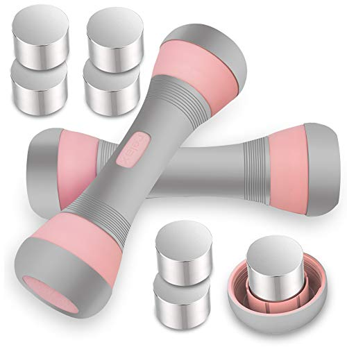 VAZILLIO Mancuernas Ajustables 2 x 2 kg/2 x 5 kg, 5 en 1, Pesas Ajustables para Hombre y Mujer, Mango de Neopreno Antideslizante para Fitness, Gimnasio, Pilates, Entrenamiento Muscular