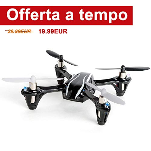 Mini Drone, FPVRC Hubsan X4 H107L V2 RC Quadricottero 2.4GHz 4CH 6 Axis Gyro Luci a LED/360 Acrobazia/Indoor/Outdoor - RTF