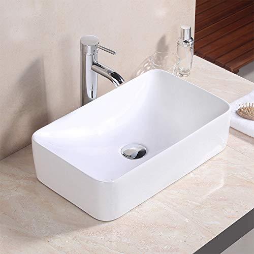 GOTOTO Lavabo da Appoggio, Lavabo Bagno Sospeso Lavandino Bagno Rettangolare 48 * 29 * 13cm Lavello Bianco in Ceramica