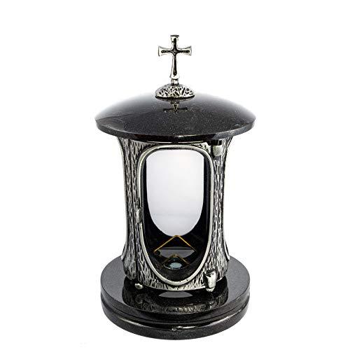 Stilvolle Grablaterne Anthrazit mit Kreuz Granit Schwedisch Black Höhe 27 cm/Ø 15 cm Grableuchte Grablicht Grablampe Granitlampe Granitlaterne Bronze mit Sockel Grabschmuck