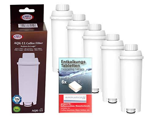Human-Wellness 5 x AQK-11 - Filtr do wody do ekspresu do kawy DeLonghi - zastępuje DLS C002 / Ser 3017/5513292811 wkład filtrujący - pasuje do ECAM ETAM Esam + 10
