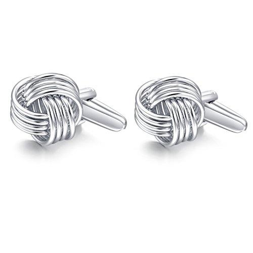 Honey Bear Herren Manschettenknöpfe Lieben Knoten Hochzeit Cufflinks Knoten-Form 1 Paar (Silber)