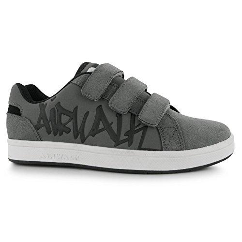 Airwalk Neptune Kinder Jungen Turnschuhe Klett Sport Schuhe Skate Sneaker Grau C10 (28)