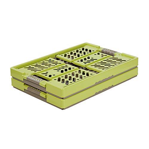 keeeper 2x Stabile Profi-Klappboxen mit Soft-Touch Griffen, 54 x 37 x 28 cm, 45 l, Ben, Grün/ Taupe