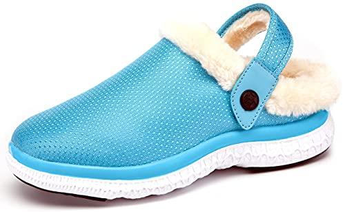 Hausschuhe Damen Herren Warm Gefüttert Winter Clogs Pantoletten Gartenschuhe rutschfest Plüsch Hausschuh Schuhe Himmelblau 40